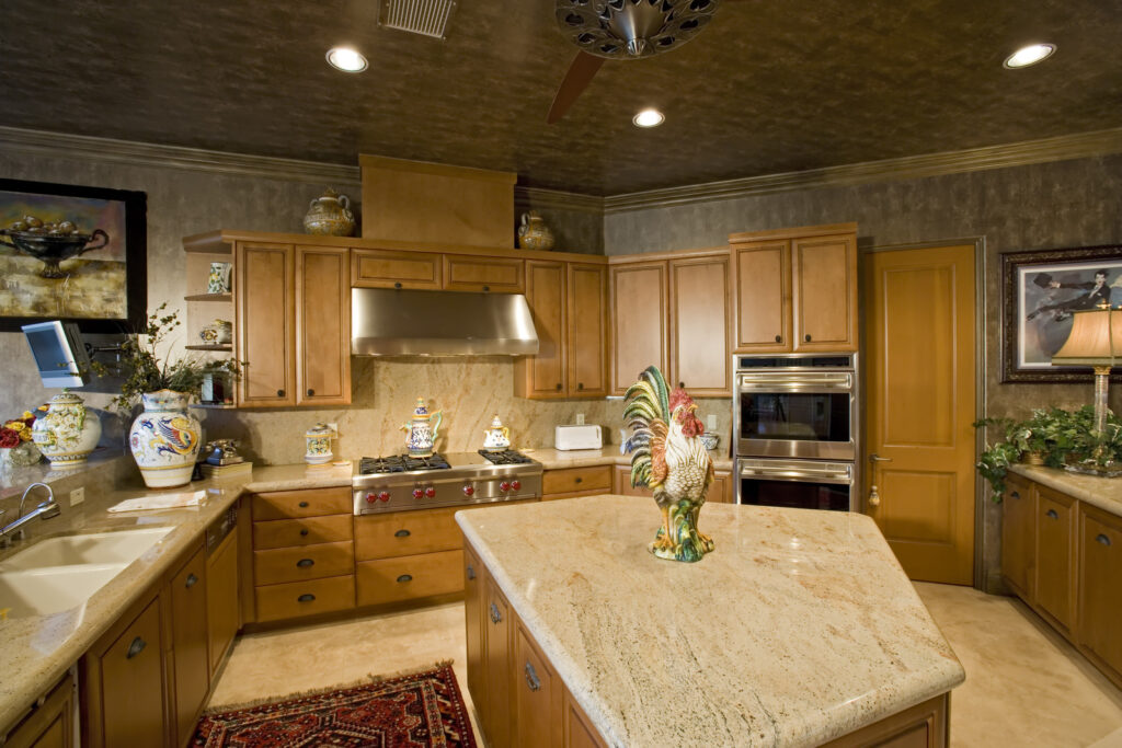 kitchen with marbled countertop