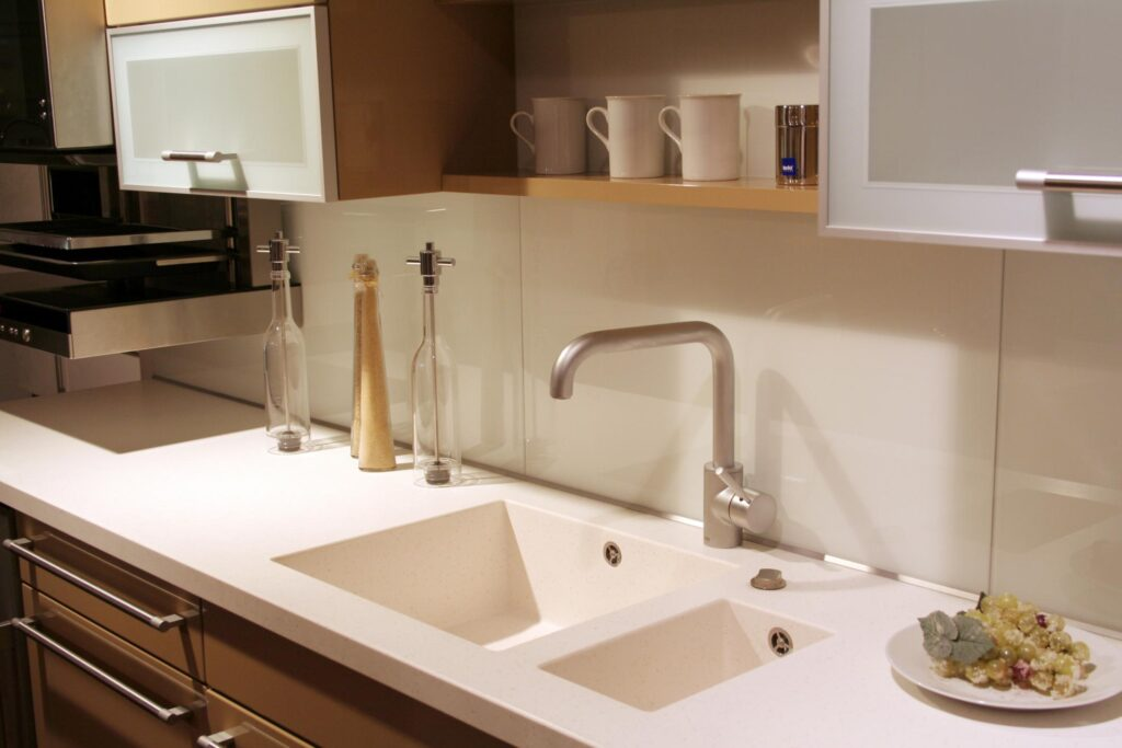 kitchen with white tiled sink